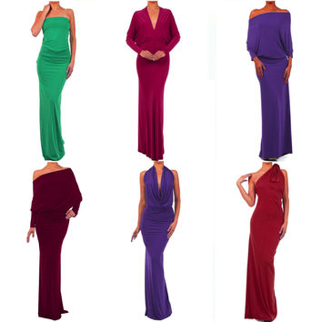 Hawaiian MULTI WAY Reversible PLUNGING MAXI DRESS Off One Shoulder Halter- Many Colors/Designs