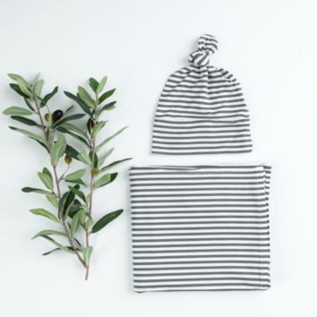 Gray & White Stripe Blanket and Hat