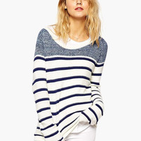 White Long Sleeve Striped Sweatshirt