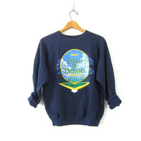 80s Field of Dreams Sweatshirt pullover 1980s Cotton Blend sweater Navy Blue Dyersville, Iowa SweaterRetro Novelty Shirt Size Large
