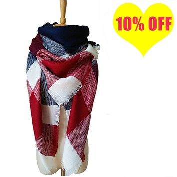 Women Tartan Blanket Scarf Winter Warm Large Plaid Shawls Check Square Scarves