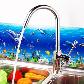 70*25cm underwater dolphin Fish Home decor Kitchen Bathroom washroom Wall Stickers Decal Decorations Art Accessories Supplies