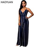 Sexy Summer Women Jumpsuit 2016 New Striped Deep V-Neck Off Shoulder Backless Club Elegant Jumpsuits Playsuit Overalls Rompers