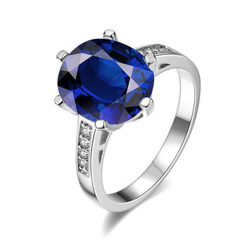White Gold Plated Medium Cut Sapphire Ring