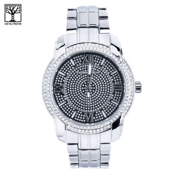 Jewelry Kay style Men's Fashion CZ Techno Pave Hip Hop Silver Toned Metal Band Watches WM 1345 BKS