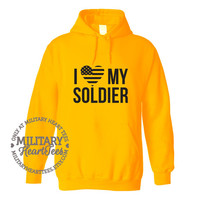 I Love My Soldier sweatshirt, Custom Military Shirt for Army, Air Force, Navy, Marines, Wife, Fiance, Girlfriend