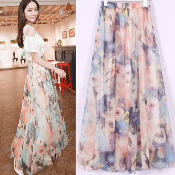 Fashion Women's Boho Bohemian Chiffon Summer Beach Long Maxi Dress Long Skirt VVF