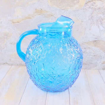 Vintage Anchor Hocking Aqua Blue Lido Pitcher, 1960s, Crinkle Glass