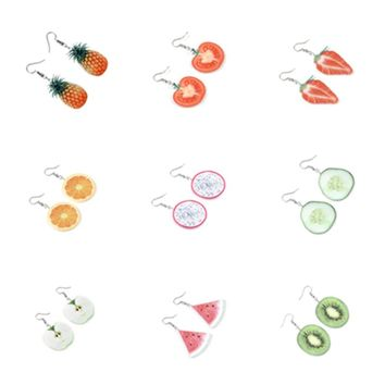 Creative small fresh and simple fruit accessories Large Fruit Strawberry Pineapple Drop Dangle Earrings Women Jewelry Gift