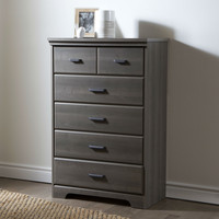 Gray Maple Wood Finish 5-Drawer Bedroom Chest of Drawers