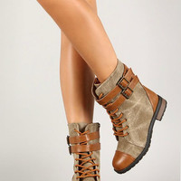 Tan Two Tone Double Combat Boots with Buckle
