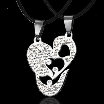 Korean Couple Necklaces Pendant Necklace Engrave I Love You Matching Hearts Key 316L Stainless Steel