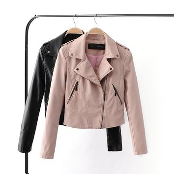Leather jacket women Leather Jackets Coat Slim Biker Motorcycle Soft Zipper Girl Leather Jaquetas De Couro feminina Women Coat