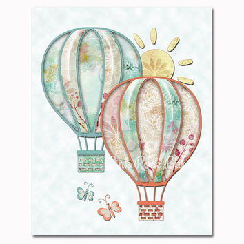 Cream mint hot air balloons nursery art nursery wall decor baby girl room decoration playroom artwork toddler poster shower newborn gift