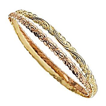 14K YG/PG 2 in 1, 4mm Plumeria and Queen Scroll Cut Out Edge Bangle(Thickness 1.2mm)