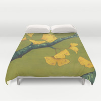 Ginkgo in Chartreuse Duvet Cover by Kate Halpin