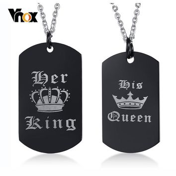 Vnox Her King and His Queen Pendant Necklace Engraved Crown Charm KQ0078