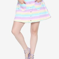 Blackheart Pastel Striped Snap-Front Denim Skirt Plus Size