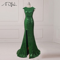 ADLN Sparkly Sequined Mermaid Evening Dresses With Slit Cap Sleeve Green Long Prom Dresses 2017 Sexy Party Gowns