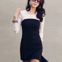 Floral Lace Sheer Sleeve with Back Keyhole Bodycon Mini Dress