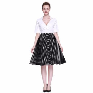 Heroecol Women Cross V Neck Short Sleeve Vintage 50s 60s Swing Style Dresses Rockabilly 1950s 50's Party White Dots Dress