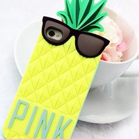 Lovely Yellow Pineapple Glasses Phone Case For iPhone 4/4S from perfectmall