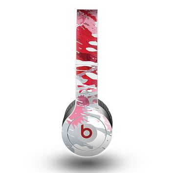 The Abstract Red, Pink and White Paint Splatter Skin for the Beats by Dre Original Solo-Solo HD Headphones