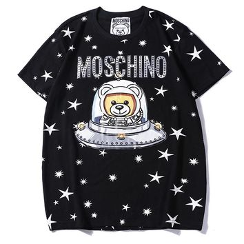 Moschino hot seller of casual couple t-shirts with stylish bear-print short-sleeved tops Black