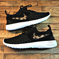 Women's Nike Juvenate shoe in Black/White with SWAROVSKI®  crystal cheetah print swoosh