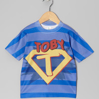 Blue Stripe Superhero Personalized Tee - Toddler & Kids