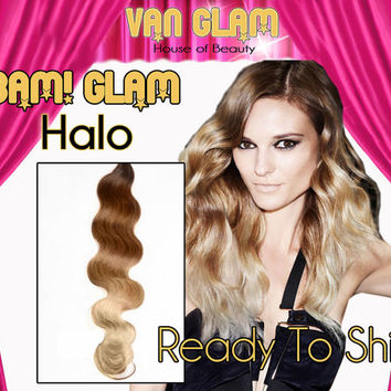"Wavy // Brown to Blonde Ombre Fade // 24"" // BAM! Glam! // Halo Hair Extensions"