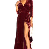 L'AGENCE Rosalind Wrap Dress in Ruby | FWRD
