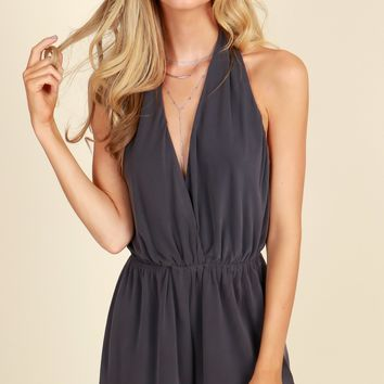 Somewhere Later Romper Charcoal