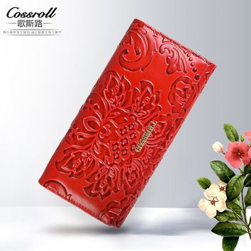Embossing Flower Women Wallet Genuine Leather Female Purse Long Printing Floral Women Retro Leather Wallet Clutch Party Bag