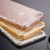 6 Plus Luxury Glitter Diamond Frame + Clear Soft TPU Back Cover Case For iPhone 6 6S 6 6S Plus Ultra Slim Flexible Crystal Shell