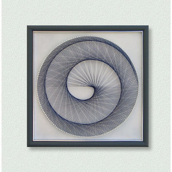 "Home Decor, Wall decor, 3D Modern Abstract String Art, Light Blue Pastel, Framed 12,6""x12,6"" (32x32cm), ready to hang, by Suzana Športa"