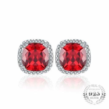 Square Pigeon Blood Red Ruby Stud Earrings 925 Sterling Silver