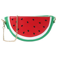 Faux Leather Watermelon Chain Bag