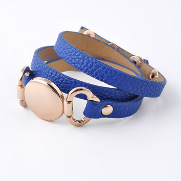 Rainbery 2017 New Style Monogram Leather Cuff Bracelet Hottest Sale Trendy With Blank Disk 3 Layer Wrap Leather Bracelet