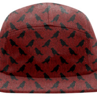 Black Crows On Red Baseball Cap