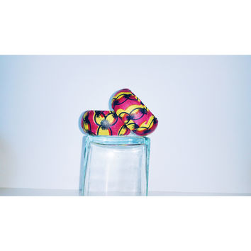 Pink And Yellow African Inspired Print Covered Bangles