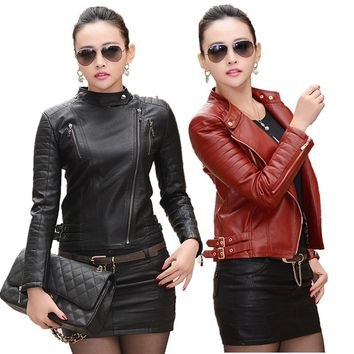 2017 Women Leather jacket Autumn Winter Female Fashion High Quality Faux Leather Jacket Ladies PU Leather Coat Black Red M-3XL