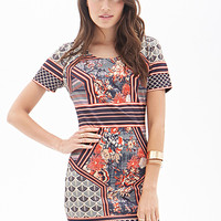 LOVE 21 Ornate Print Bodycon Dress Grey/Red