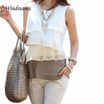 New Spring Summer Style Ruffles Tiered Blusas Multi Colors Blouse Sleeveless Shirt Tops O-Neck Shirt