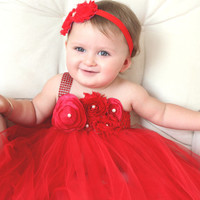 Beautiful Red Satin Shabby Chic Flower Tutu Dress for Baby Girl First Birthday 6-18 Months