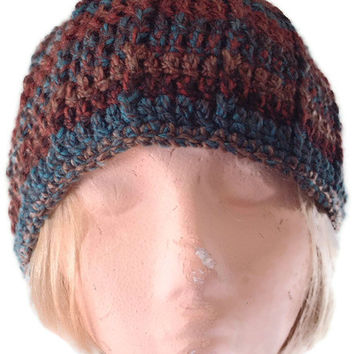 Crochet BEANIE Hat in Chunky Browns & Teals for MEN and Women. Original Design, Fashion Accessories, Winter Sports,