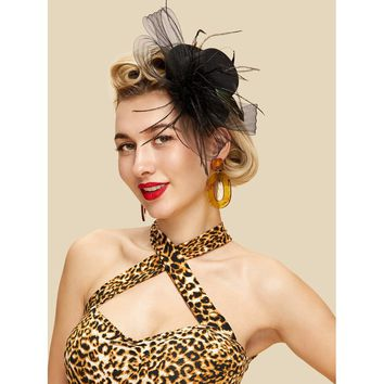 Mesh Bow Fascinator Hat With Feather