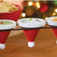 4 Pc Ceramic Santa Hat Serving Set