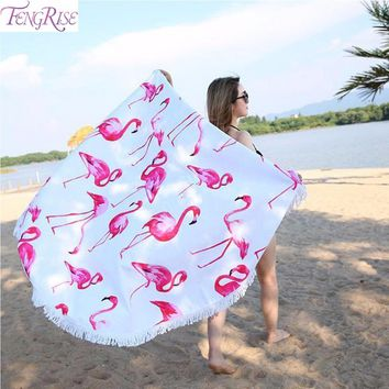Summer Pink Flamingo Round Beach Towel With Tassels
