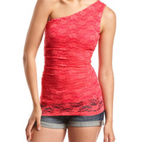 Charlotte Russe - One Shoulder Ruched Lace Tank